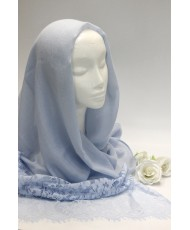 NK 079-blue  Палантин голубой хлопок с шантилье