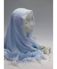 NK 022-blue Шаль-палантин голубой натуральный с кружевом