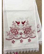 RU 079-2 Белый рушник с бордовой  вышивкой