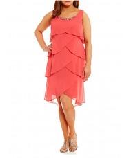 V 194-coral Платье с оборками шифон