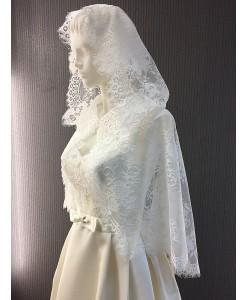SHB 069-1 Накидка венчальная молочного цвета шантилье