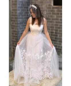 WD 270 Нежное свадебное платье с вышивкой ришелье
