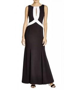 V 210 Платье в пол черно-белое