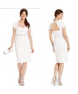 V 203 Платье-футляр молочное с плечиками