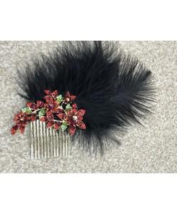 GR 132 Гребень с перьями и красными цветами