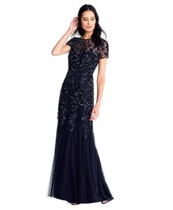 V 215 Платье расшитое бисером тёмно-синее в пол