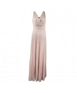 V 214 Бежево-золотистое платье плиссе с блеском