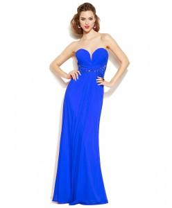 V 214 Платье яркое синее со стразами в пол