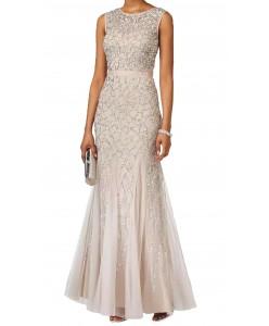 V 207  Платье расшитое бисером бежевое с серебром