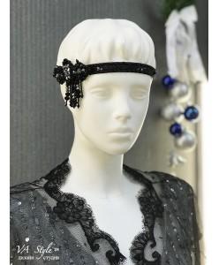 SH 607 Украшение в волосы-повязка расшитая бисером