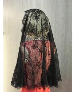 NK 015-1 Платок- шаль кружевная черного цвета