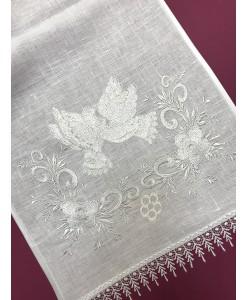 RU 100-w Свадебный рушник белый с голубями