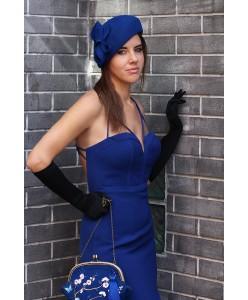 SH fetr 013 Шляпка-берет фетровый синий
