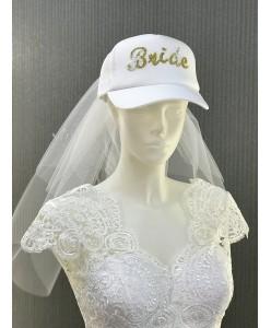 SH Cap 01 Кепка Bride с фатой на девичник