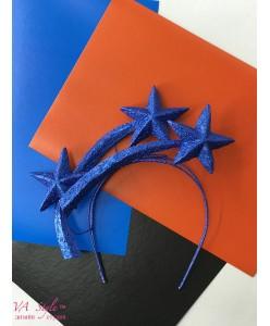 """SH 611-blue Украшение на ободке- """"звёзды"""" синие"""