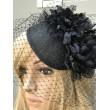 SH 373-22 Шляпка чёрная с цветами и вуалью