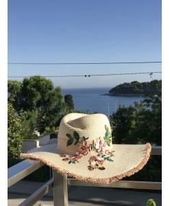 SH 628 Шляпа с полями и вышивкой пудра-беж