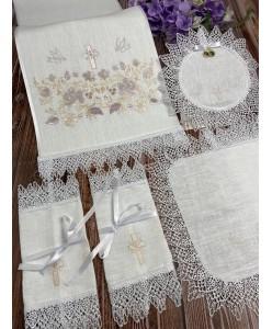 PL  105 Набор на венчание в цвете пудра-беж  на льне
