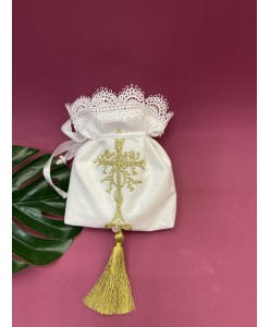 XR 008 Мешочек для волос с золотом на крестины
