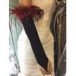 PR 036-black Чёрные перчатки с красными перьями