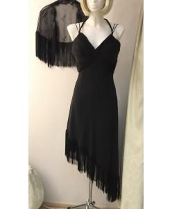 V 028-b Платье из шифона черное с бахромой