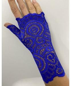 PR 139-blue Синие перчатки кружевные