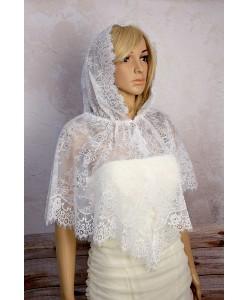 SHB 139 Накидка-платок с капюшоном белая