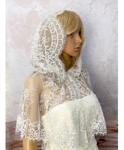 SHB 140 Накидка-платок с капюшоном молочная