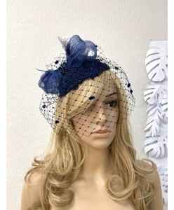 SH 653 Шляпка-капелька тёмно-синяя с вуалью