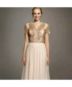 V 208  Платье персиково-бежевого цвета с пышной юбкой