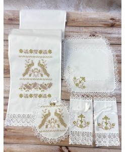 PL 117 Набор на венчание хлопок пудра-золото
