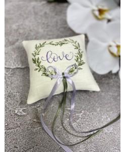 P 093-l Атласная подушечка Love с лавандовой вышивкой
