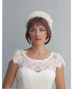 SH 669  Шляпка-ободок айвори со съёмной вуалью