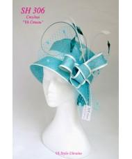 Шляпка с небольшими полями бирюзового цвета SH 306