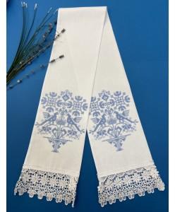 EV 096-blue Закладка в Евангелие голубая вышивка