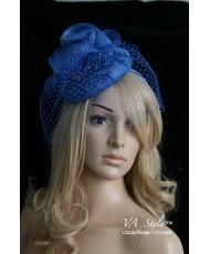 SH 244 Синяя шляпка с вуалью