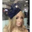 SH 030 Шляпка тёмно-синяя с перьями