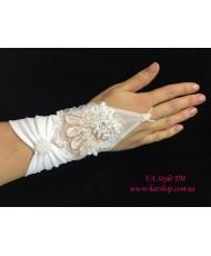 PR 124 Белые перчатки с атласным манжетом