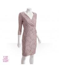 V 163 Платье кружевное с рукавом кофейное