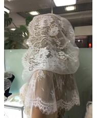 SHB 015 Накидка кружевная с капюшоном на венчание