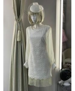 WD 139 Кружевное платье с бахромой и с рукавами шифон