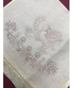 RU 019 Льняной рушник свадебный  с голубями