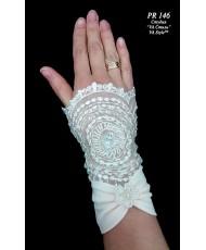 PR 146 Перчатки-манжетки расшитые с атласом айвори-персик