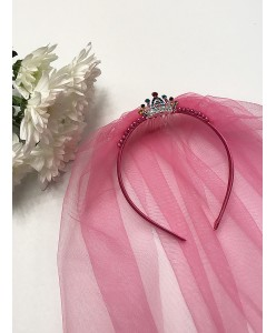 SH 506 Фата розовая яркая на ободке с коронкой