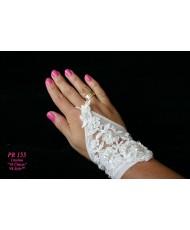 PR 155 Перчатки с кружевной вставкой без пальцев айвори