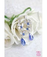 J 084-1 Серьги с синими кристаллами и стразами