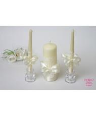 SV 024-1 Свадебные свечи в айвори с кружевом