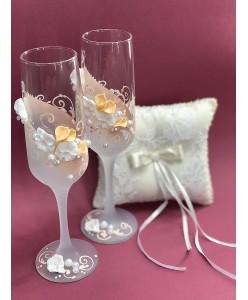 B 049-1 Свадебные бокалы с персиковым декором