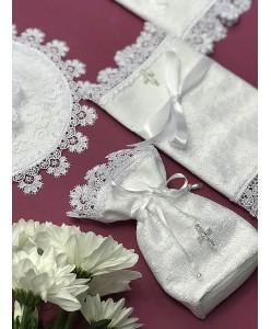 XR 003 Набор крестильный из льна белого цвета