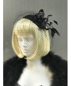 SH 530 Шляпка черная с вуалью